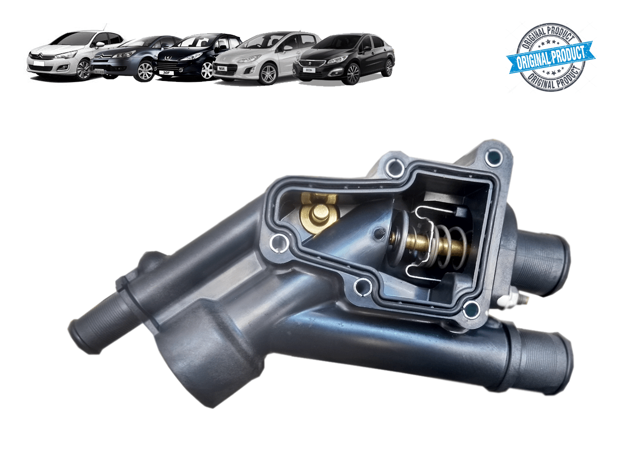9805820880 - Caixa Carcaça da Valvula Termostatica 80º C/ Junta + Valvula 2.0 16v Original (  Peugeot e Citroen )