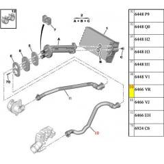 6466VJ / 6466VR - Kit Mangueira Ar Quente Peugeot 208 C3 1.6 Vti Original